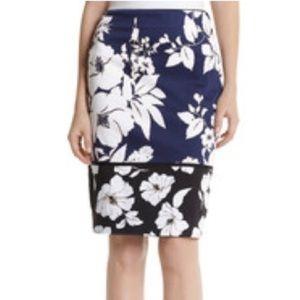 White House Black Market Navy Floral Pencil Skirt